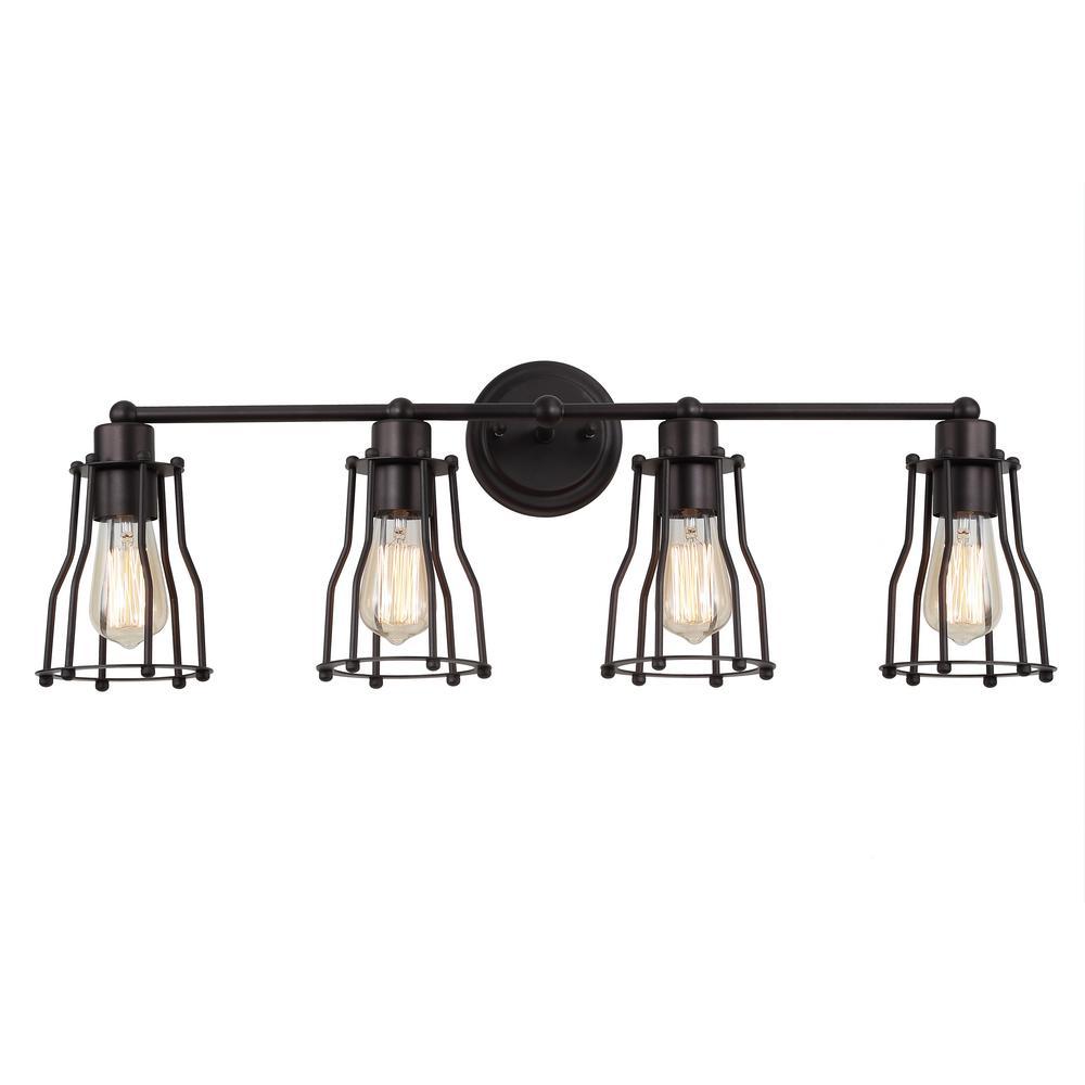 4 light Bronze vanity bathroom wall lights with amber hand blown  glass