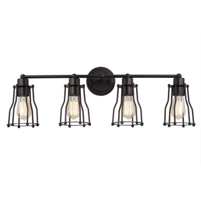 Florence 29.5 in. 4-Light Metal Oil Rubbed Bronze Vanity Light