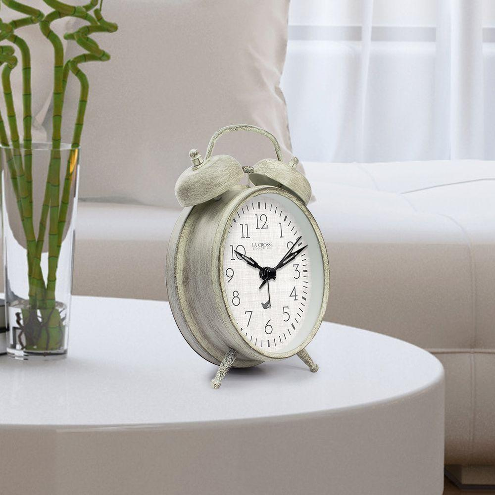 la crosse technology weathered ivory metal in analog. Black Bedroom Furniture Sets. Home Design Ideas