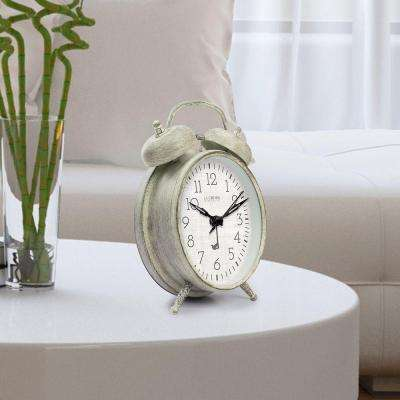 Weathered Ivory Metal 4.17 in. Analog Twin Bell Alarm Table Clock