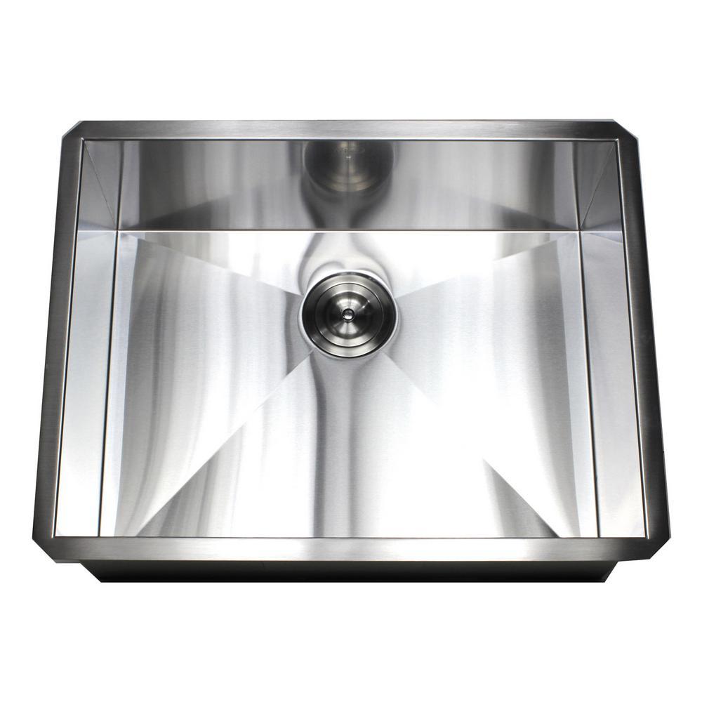 Kingsman Hardware Undermount 16-Gauge Stainless Steel 26 in. x 20 in. x 10  in. Deep Single Bowl Zero Radius Kitchen Sink