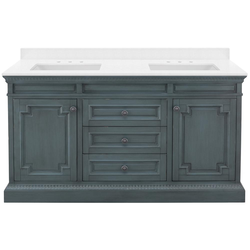 Home Decorators Collection Cailla 61 in W x 22 in D Vanity in Distressed Blue Fog with Engineered Marble Vanity Top in Snowstorm with White Sinks