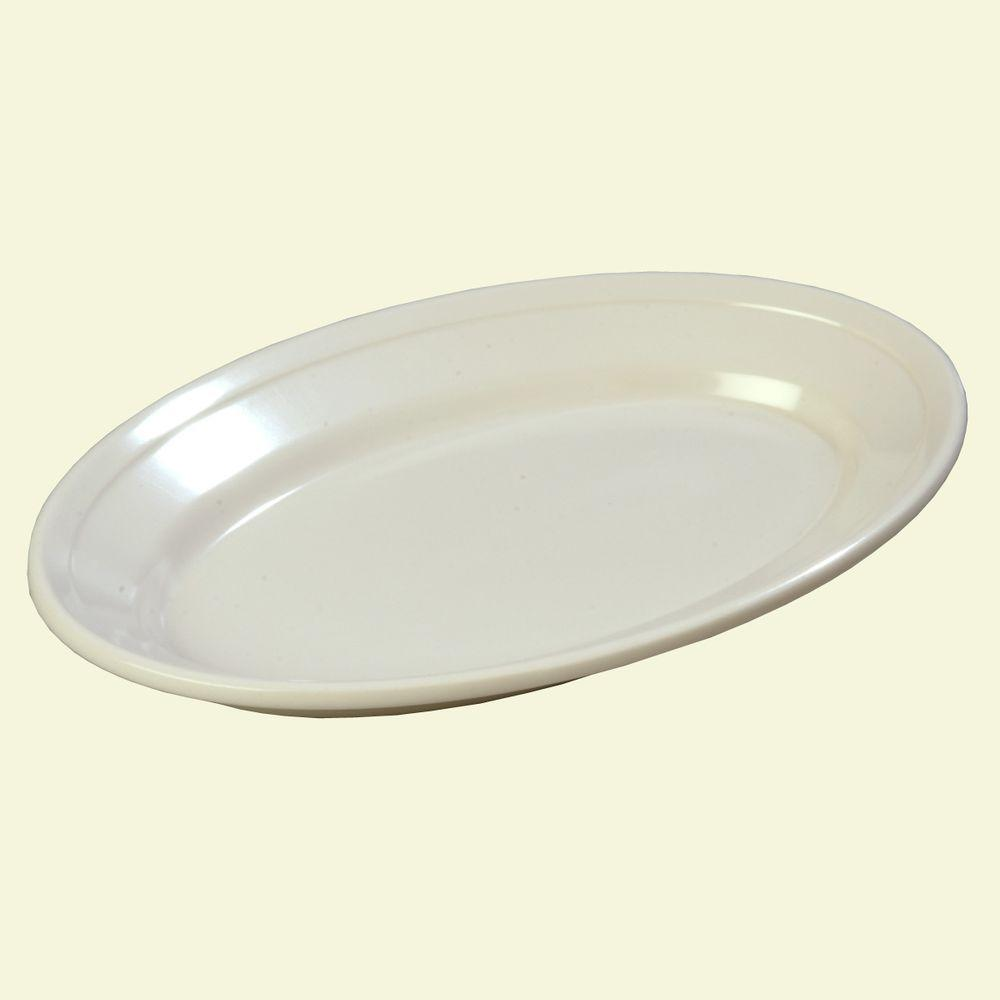 Carlisle 6.25 in. x 9.25 in. Melamine Oval Platter in Bone (Case of 24)