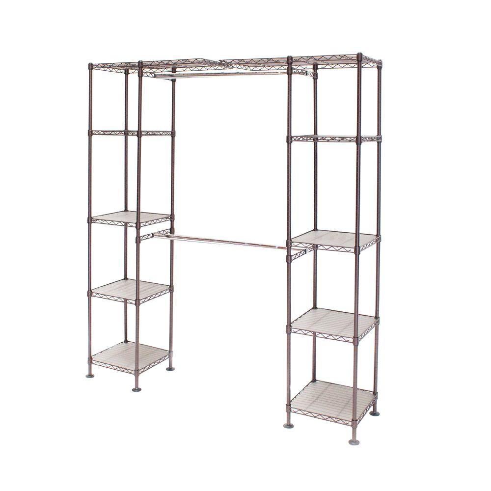 Seville Classics 72 in. Bronze Expandable Closet Organizer-SHE05814B ...