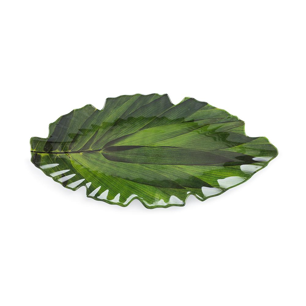 Zen 16 in. x 7 in. Melamine Serving Platter in Green