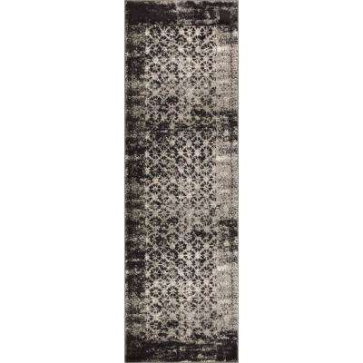 Sydney Vintage Manchester Modern Distressed Abstract Grey 2 ft. 7 in. x 12 ft. Runner Rug