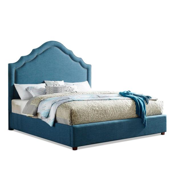 Ensley Upholstered Sapphire Blue King Bed