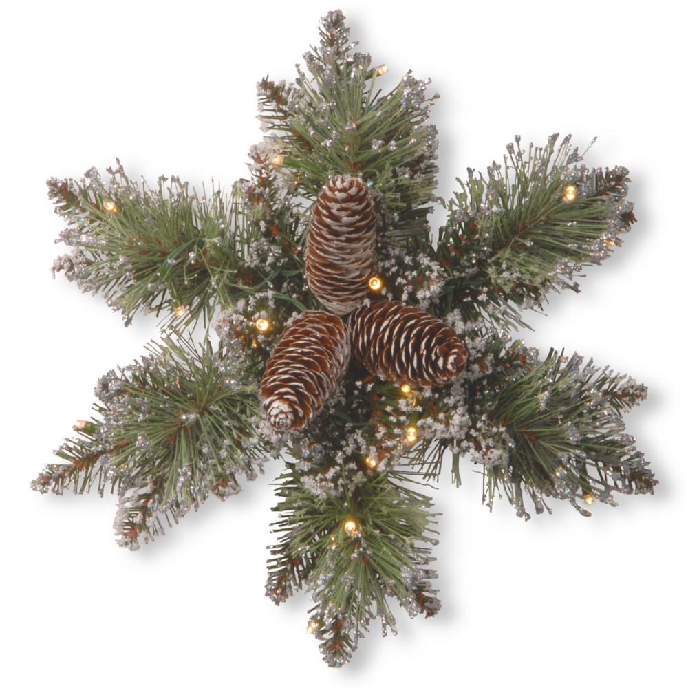 Glittery Bristle Pine 14 in. Artificial Snowflake with Battery Operated Warm