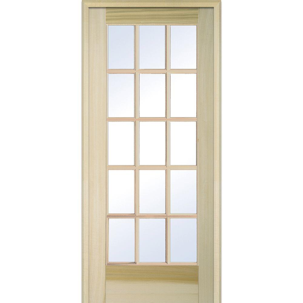 30 x 80 15 lite prehung doors interior closet doors the right handed unfinished poplar wood clear glass 15 lite planetlyrics Image collections