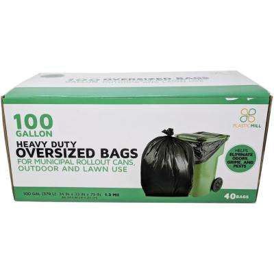 67 in. W x 79 in. H. 100 Gal. 1.3 mil Black Trash Bags (40-Case)