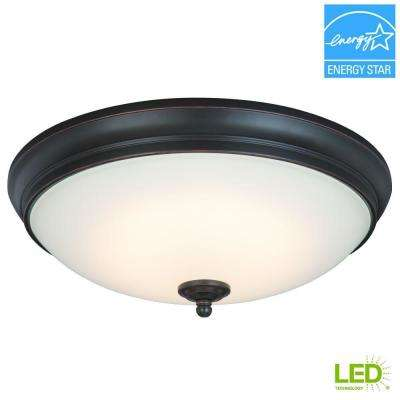 13 in. 60-Watt Equivalent Oil-Rubbed Bronze Integrated LED Flushmount with White Glass Shade