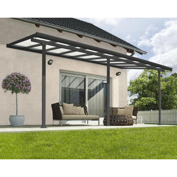 Palram Feria 10 Ft X 18 Ft Grey Patio Cover Awning 702753 The Home Depot