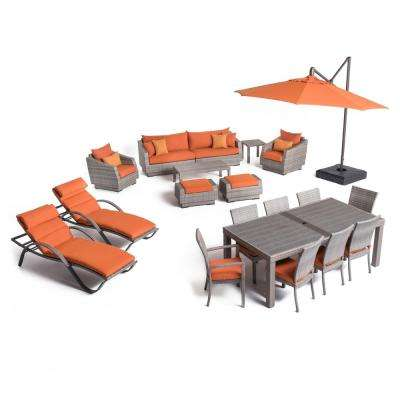 Cannes Estate Wicker 20-Piece Patio Conversation Set with Sunbrella Tikka Orange Cushions