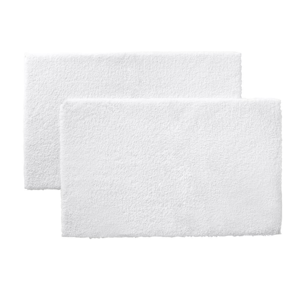 White 21 in. x 34 in. Microplush Non-Skid Bath Rug (Set of 2)