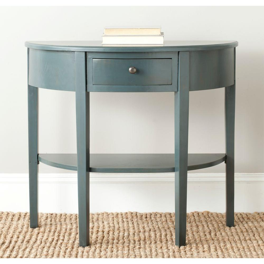 Teal Sofa Table: Safavieh Abram Steel Teal Storage Console Table-AMH6636B
