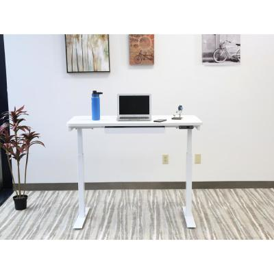 48 in. Rectangular White 1 Drawer Standing Desk with Adjustable Height Feature