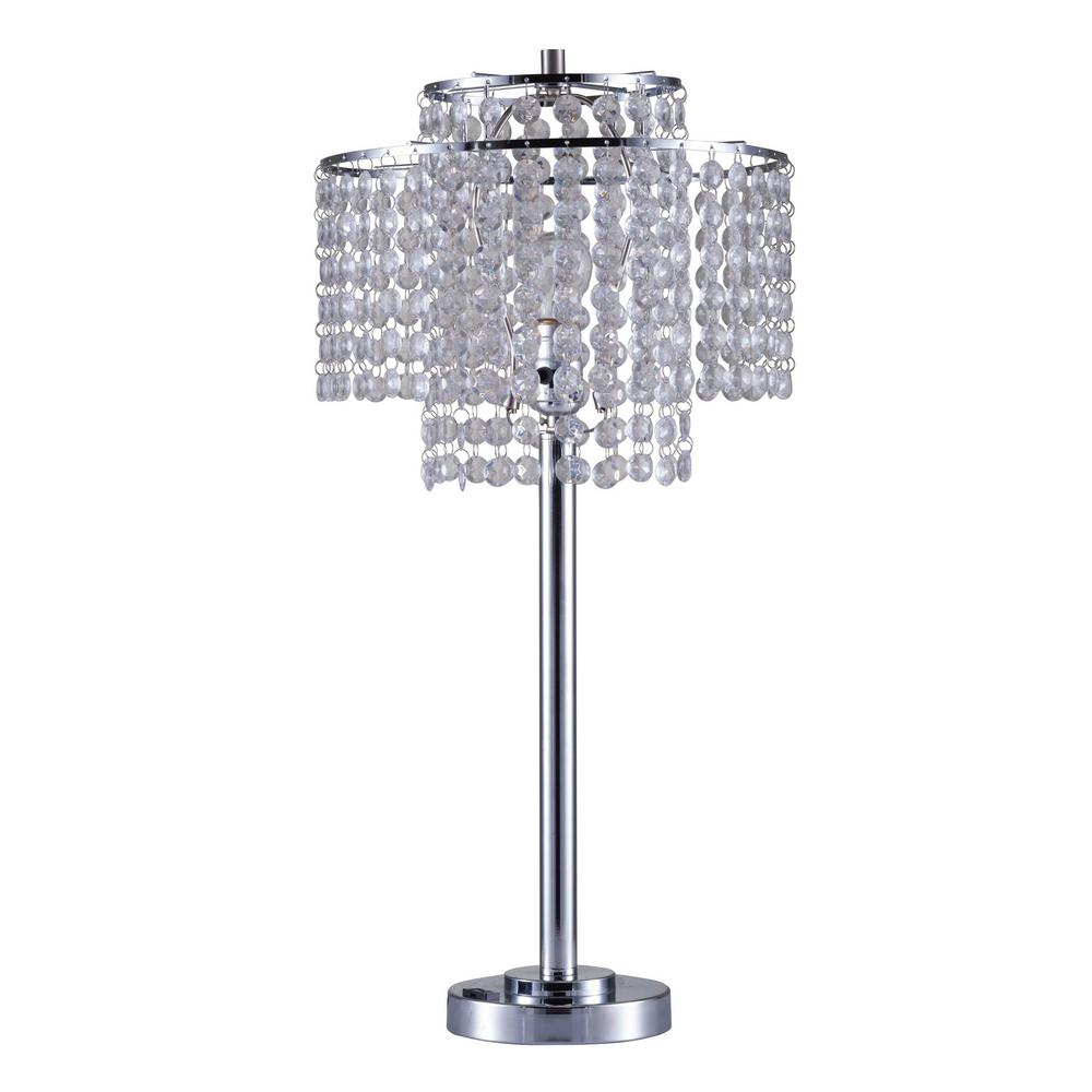 Ore International Holly 26 In Glam Silver 2 Tier Table Lamp With