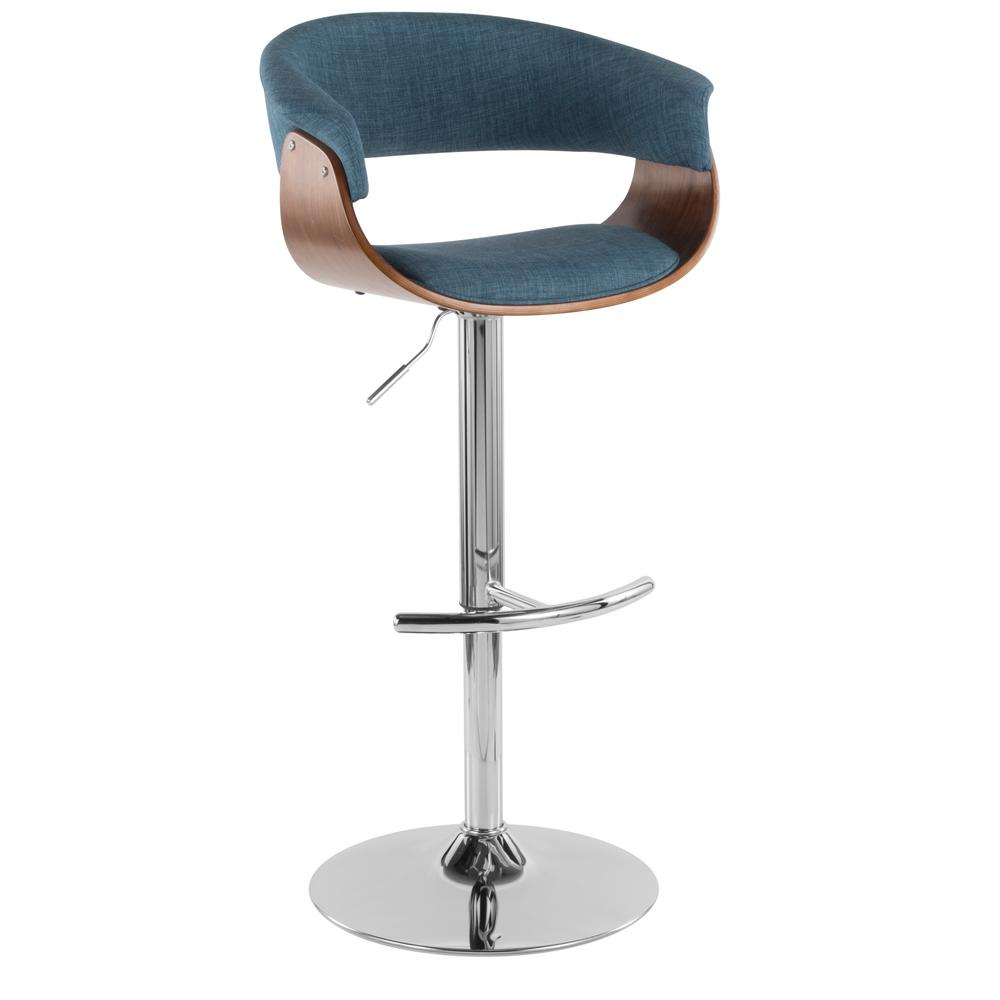 Lumisource Vintage 32 In Mod Adjustable Barstool In Walnut And Blue
