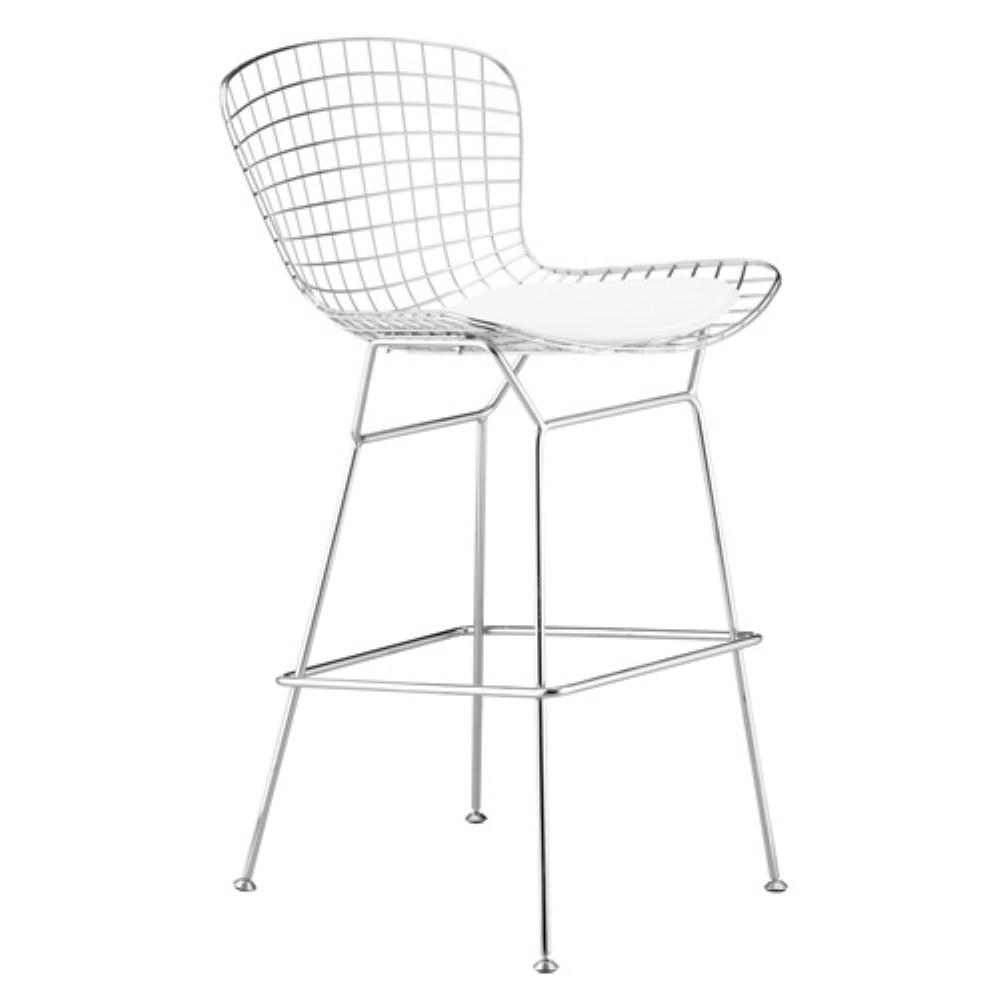 White Wire Bar Height Chair