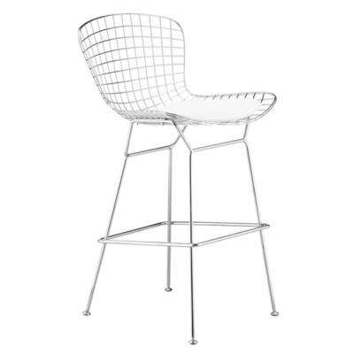 41 in. White Wire Bar Height Chair