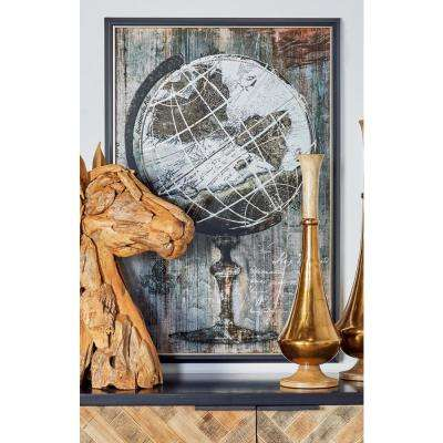 "37 in. x 25 in. ""Globe"" Hand Painted Framed Canvas Wall Art"