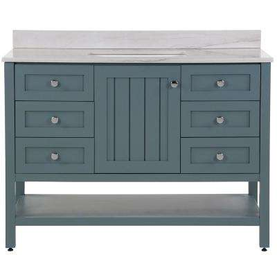 Lanceton 49 in. W x 22 in. D Bath Vanity in Sage with Stone Effects Vanity Top in Gray Stone with White Basin
