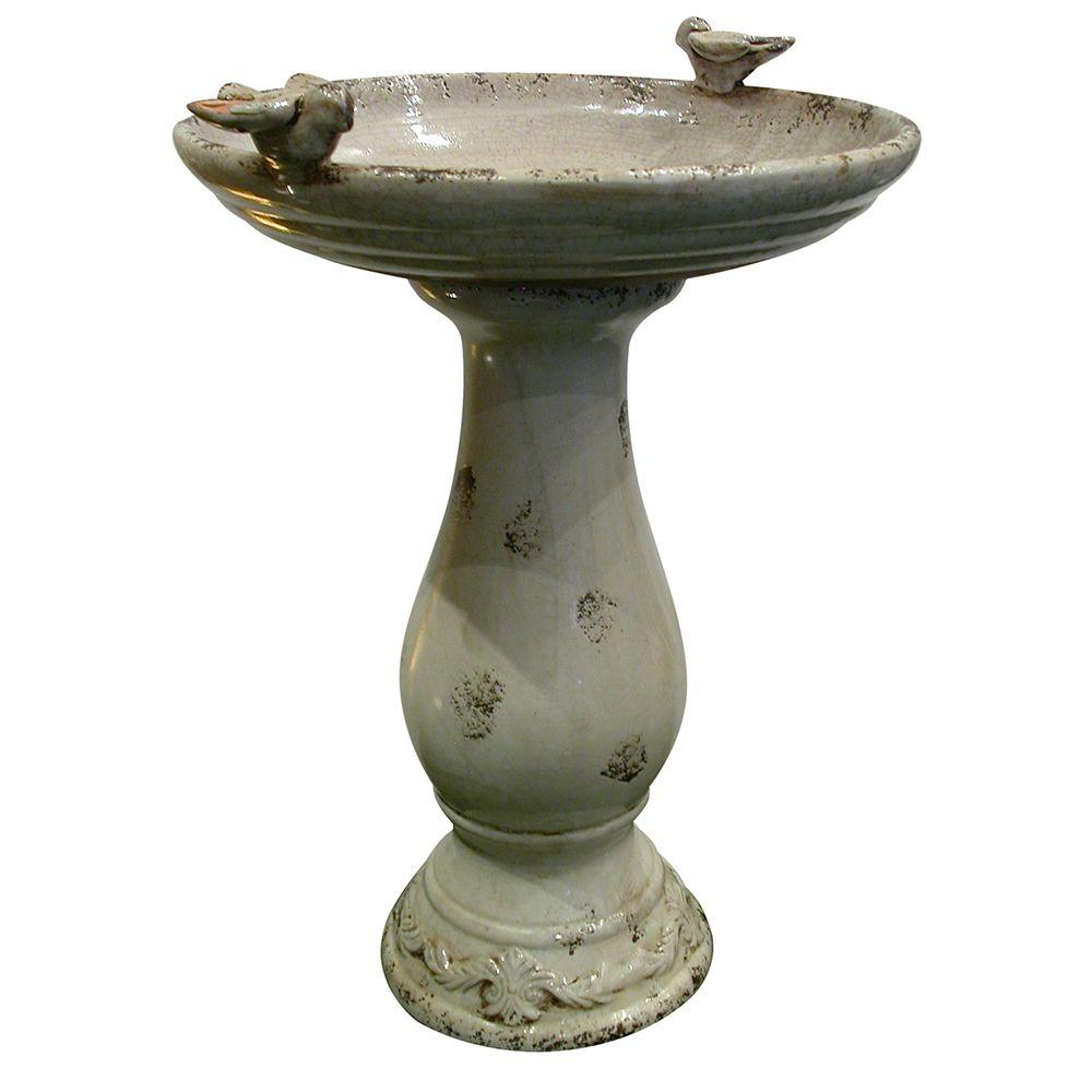 Ceramic Pedestal Birdbath with 2 Bird Figurines, Light Brown