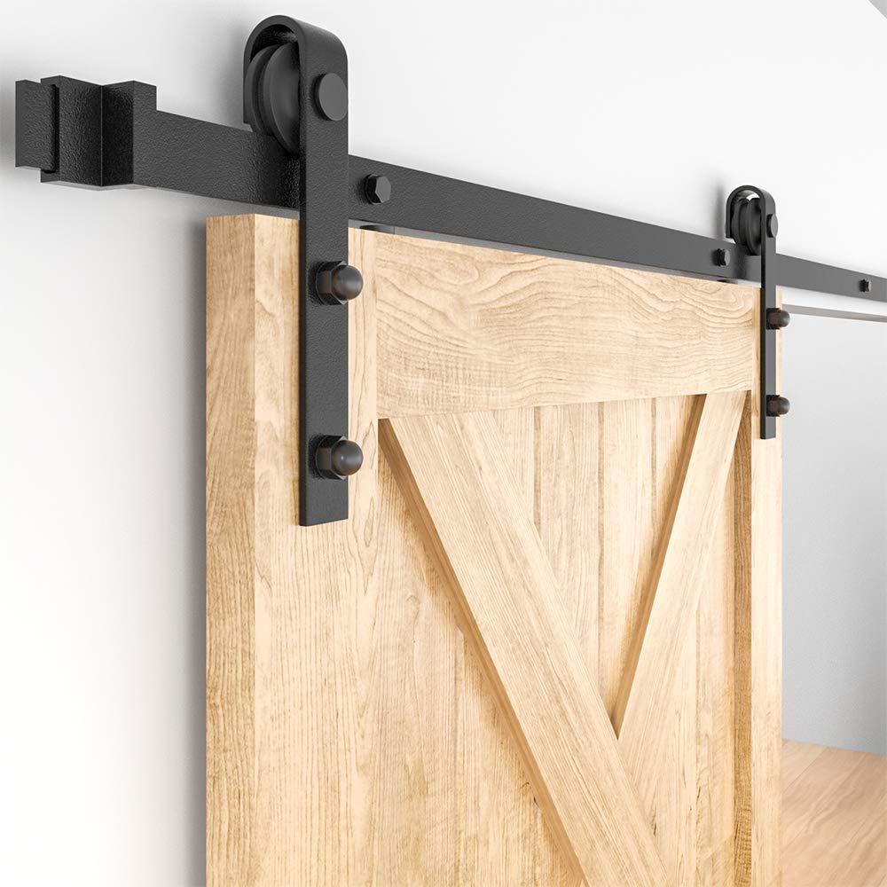 Bathroom Sliding Door Rail Mute Pulley Track Accessories GWXFHT Sliding Barn Door Kit 5ft-13ft Sliding Barn Door White Hanging Rail Professional Hardware Kit Size : 5ft//150cm single door kit