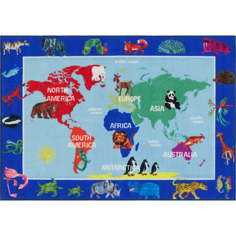 Home Dynamix Elementary World Map Multi 4 ft. 11 in. x 6 ft. 6 in