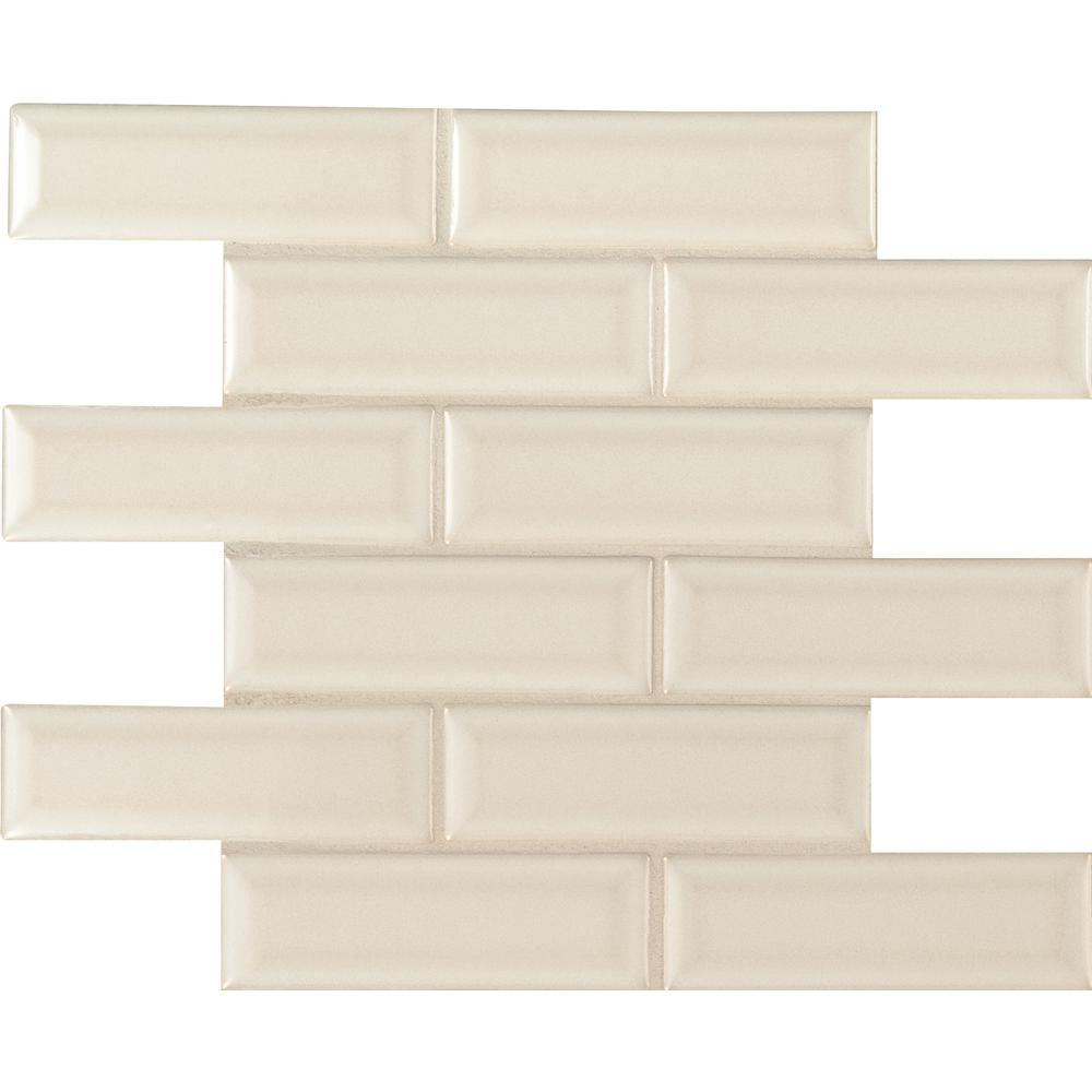 MSI Antique White Beveled 12 in. x 12 in. x 10mm Ceramic Mesh-Mounted Mosaic Wall Tile (10 sq. ft. / case)