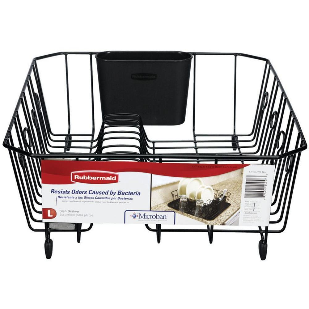 Rubbermaid Antimicrobial Large Black Dish Drainer