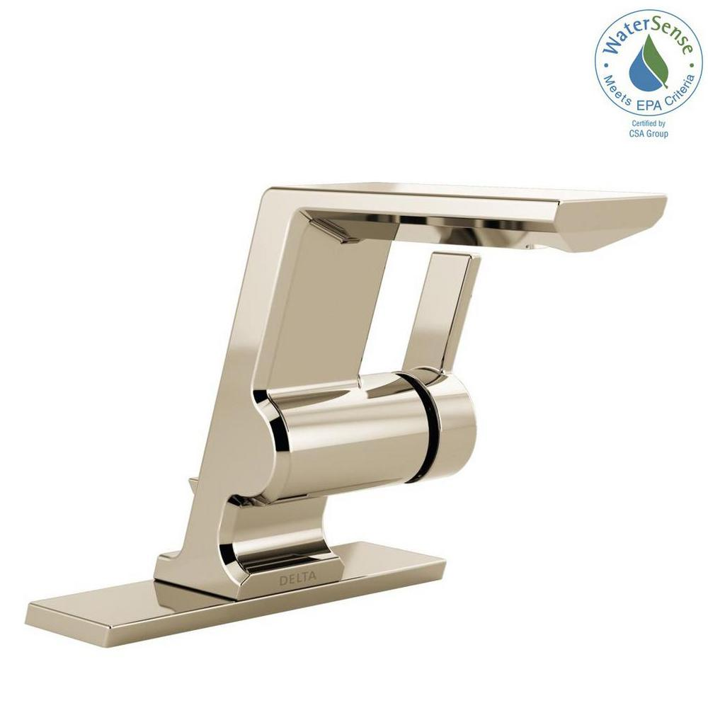 Pivotal Single Hole Single-Handle Bathroom Faucet with Metal Drain Assembly in