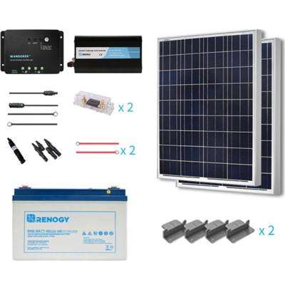 200-Watt Starter Complete Solar Panel Kit Poly Off Grid Solar with Deep Cycle Pure GEL Battery