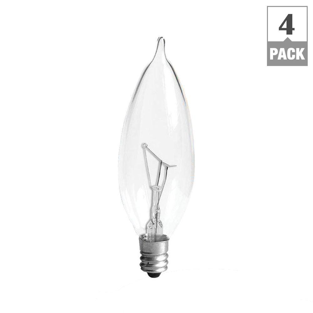 GE 40-Watt Incandescent CA10 Bent Tip Decorative Candelabra Base Double Life Clear Light Bulb (4-Pack)