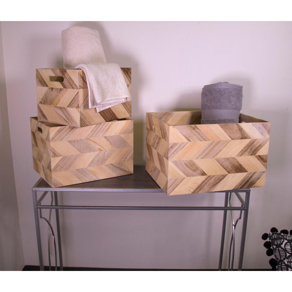 3-Piece Wood Basket Set with Zig Zag Detail and Cut Out