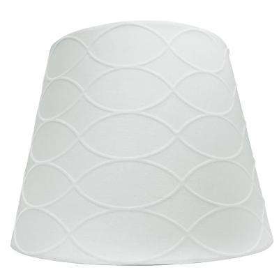 Mix and Match 10 in. Dia x 8 in. H White on White Pattern Round Accent Lamp Shade
