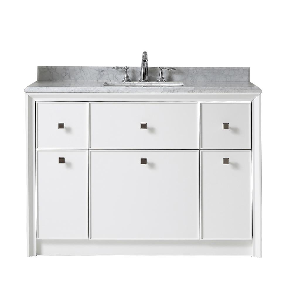 Martha Stewart Living Parrish 48 in. W x 22 in. D Bath Vanity in Bright White with Marble Top in Grey/White