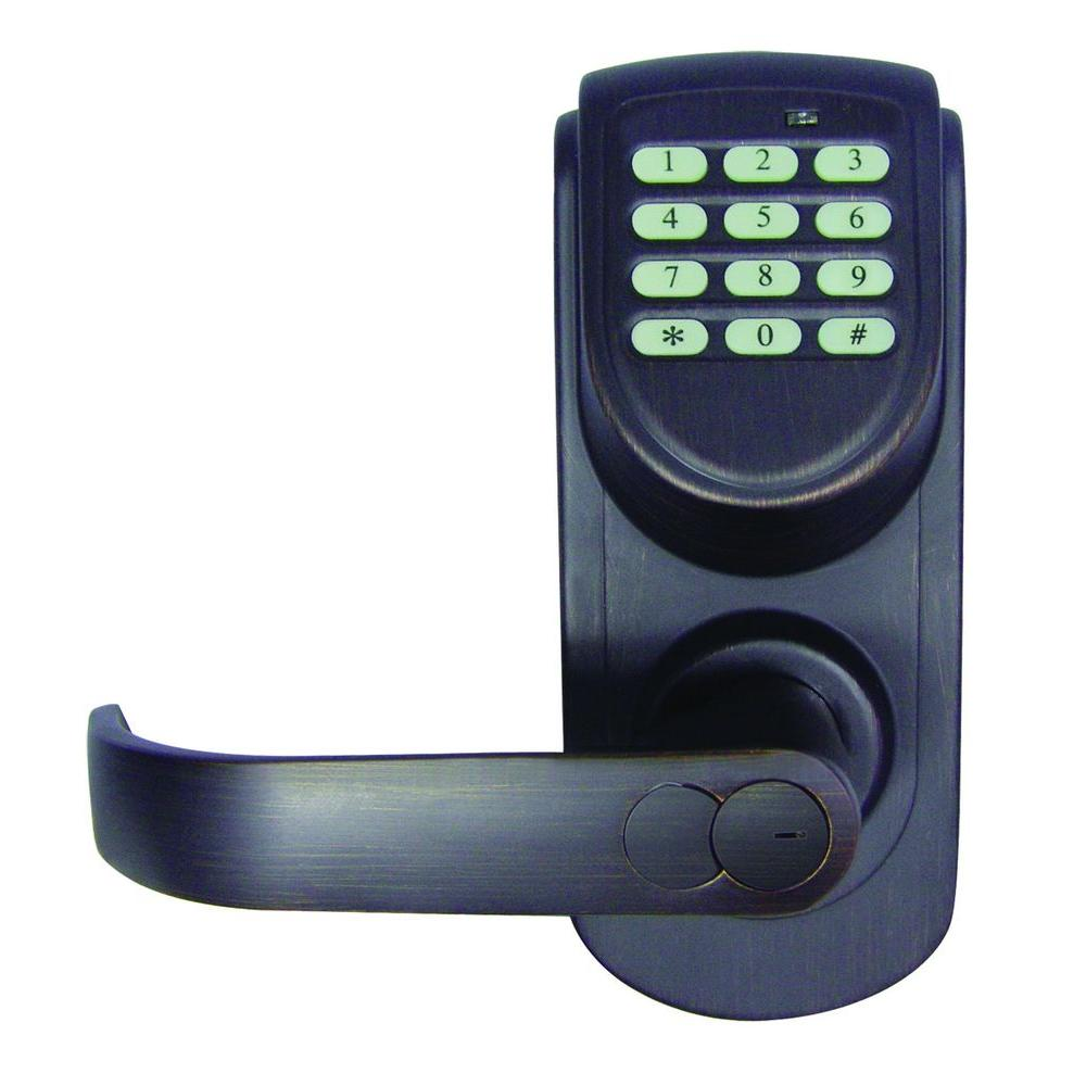 Design House Brushed Bronze Electronic Keypad Entry Lever with Left-Hand