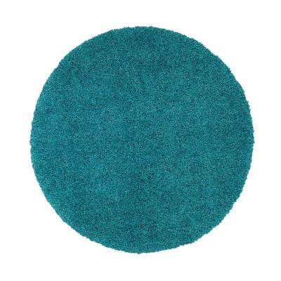 Cozy Collection Turquoise 5 Ft X Contemporary Round Area Rug