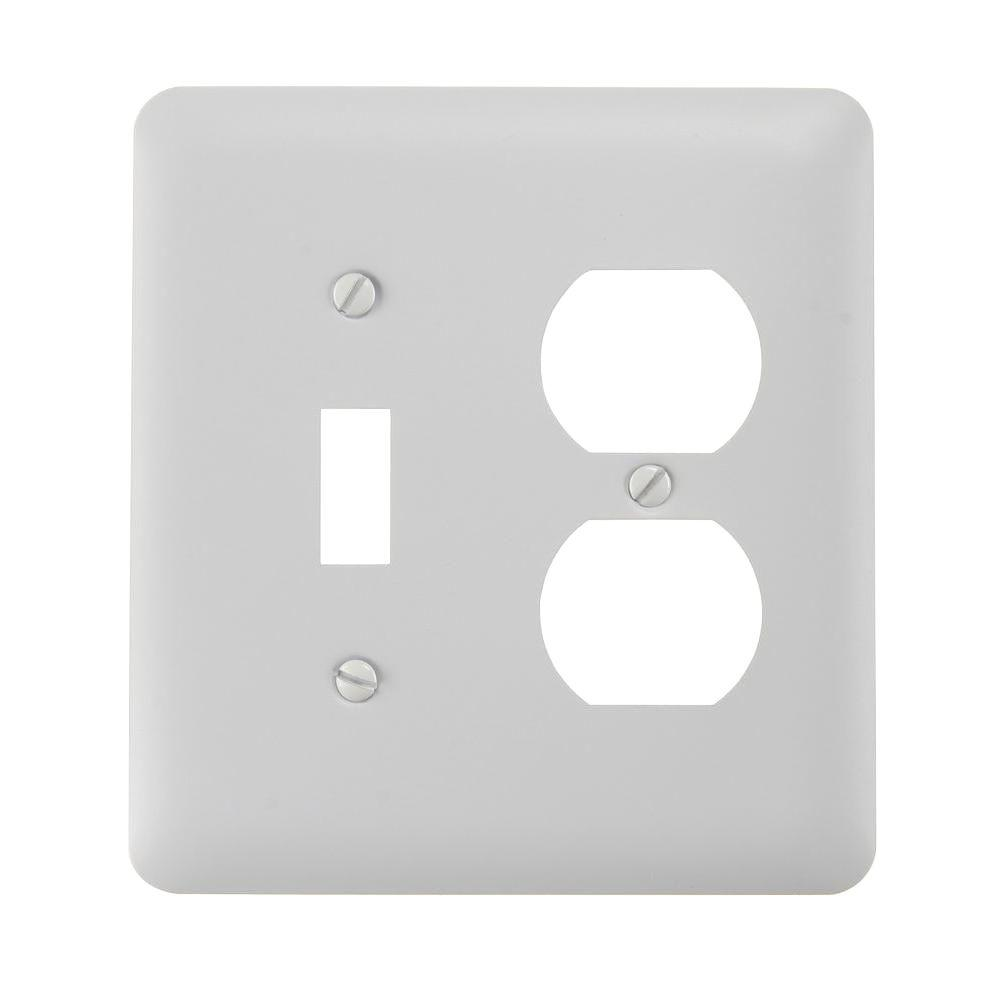 Hampton Bay Declan 1 Toggle 1 Duplex Combination Wall Plate - White Steel