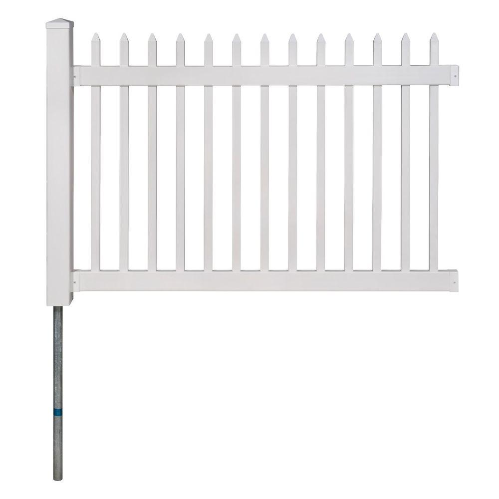 WamBam Fence No-Dig Permanent 4 ft. x 6 ft. Nantucket Vinyl Picket Fence Panel with Post and Anchor Kit
