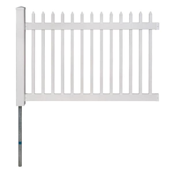 No-Dig Permanent 4 ft. x 6 ft. Nantucket Vinyl Picket Fence Panel with Post and Anchor Kit