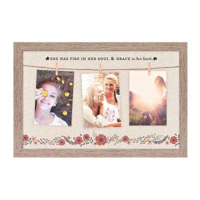 "Homespun Collection Holds 3, 4 in. x 6 in. Multi Color Photos Barnwood Looking Frame ""She Has Fire"" Hanging Photo Frame"