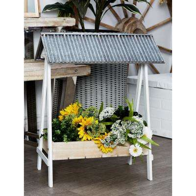 Brown Iron and Wood Flower Stand