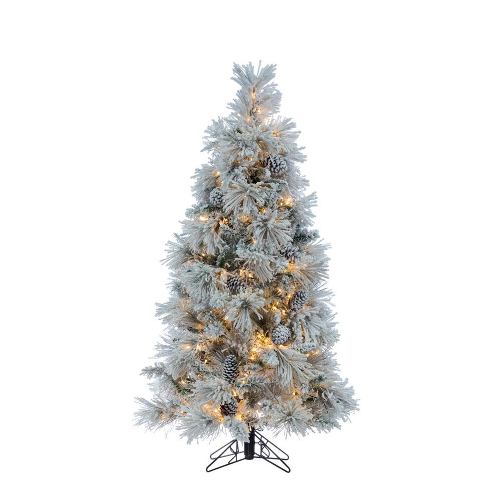 Flocked Crystal White Pine Artificial Christmas Tree With Cones And 500 Warm