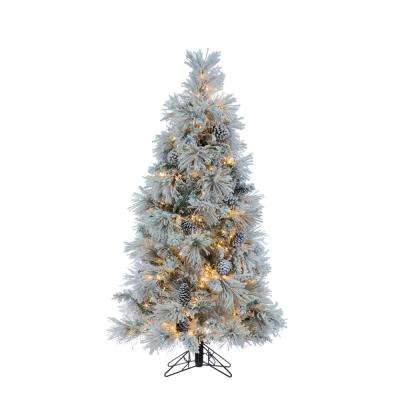 5 ft. Flocked Crystal White Pine Artificial Christmas Tree with Pine Cones and 500 Warm White LED Micrio Lights