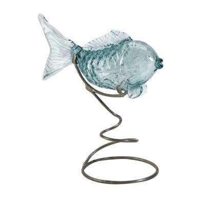 Lenor 17.25 in. Clear Glass Fish Statuary
