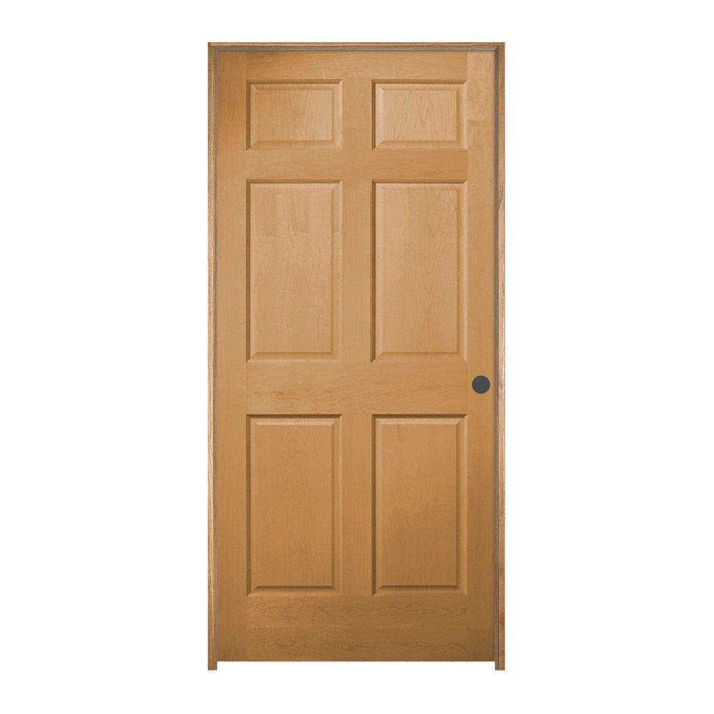 Hemlock Unfinished Left Hand 6 Panel Wood Single Prehung Interior Door D42036    The Home Depot