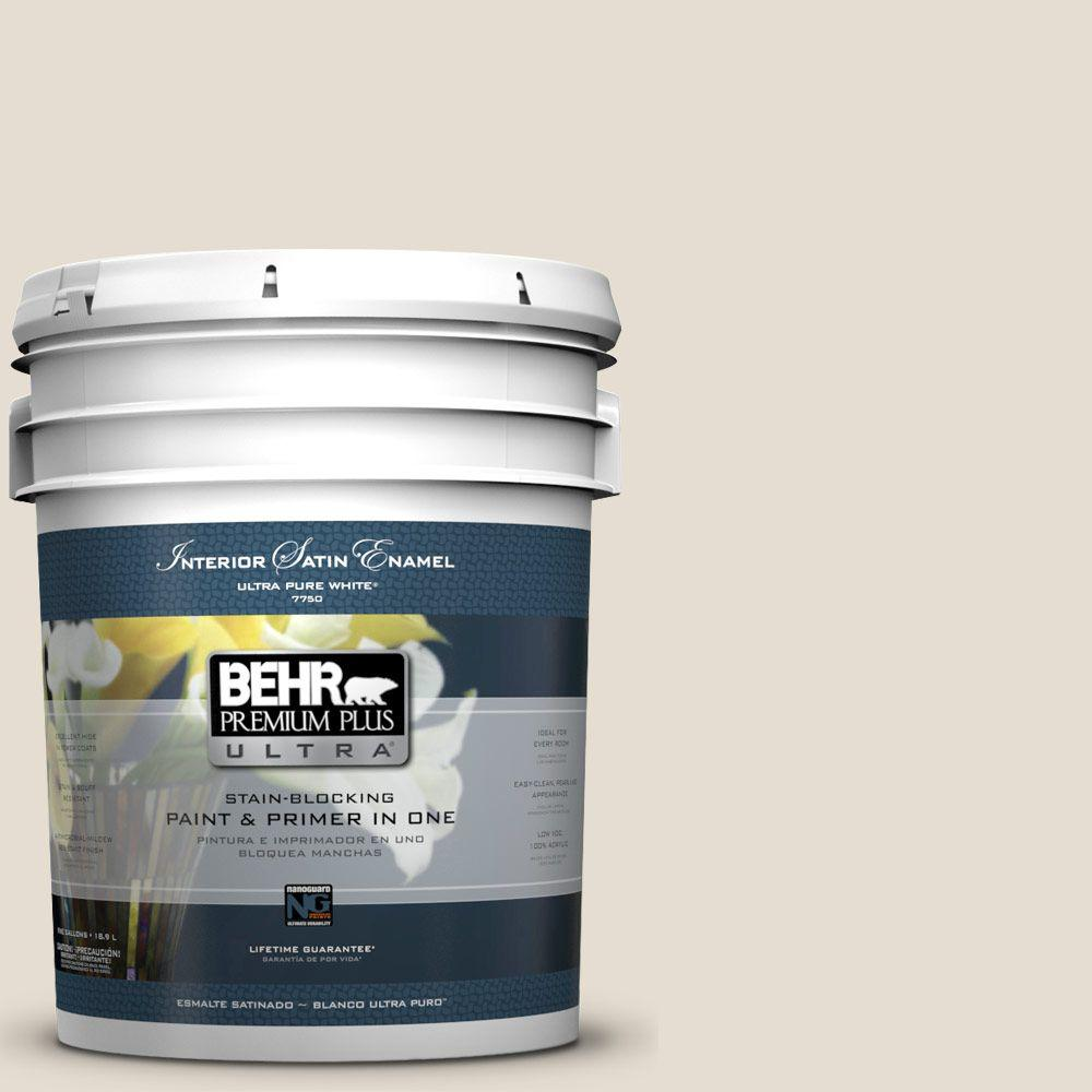5-gal. #GR-W12 Confident White Satin Enamel Interior Paint