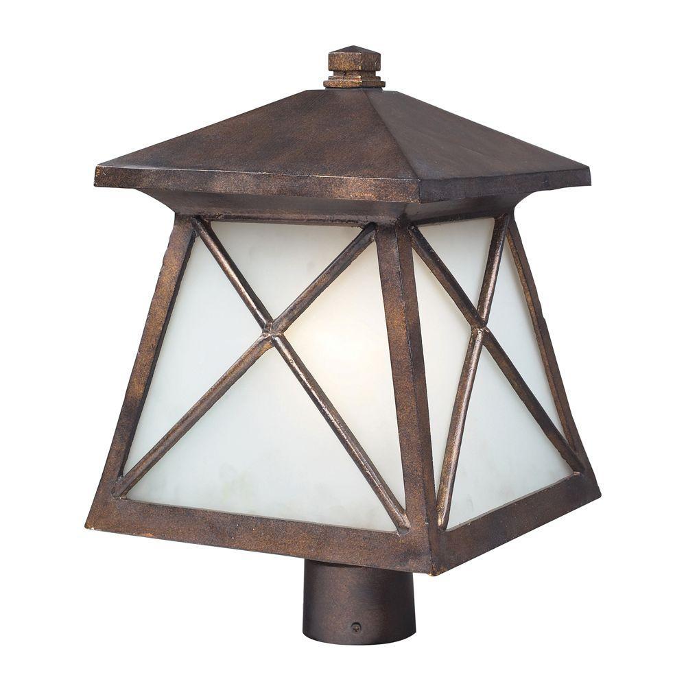 Titan Lighting 1-Light Ceiling Mount Hazelnut Bronze Outdoor Post Light-DISCONTINUED